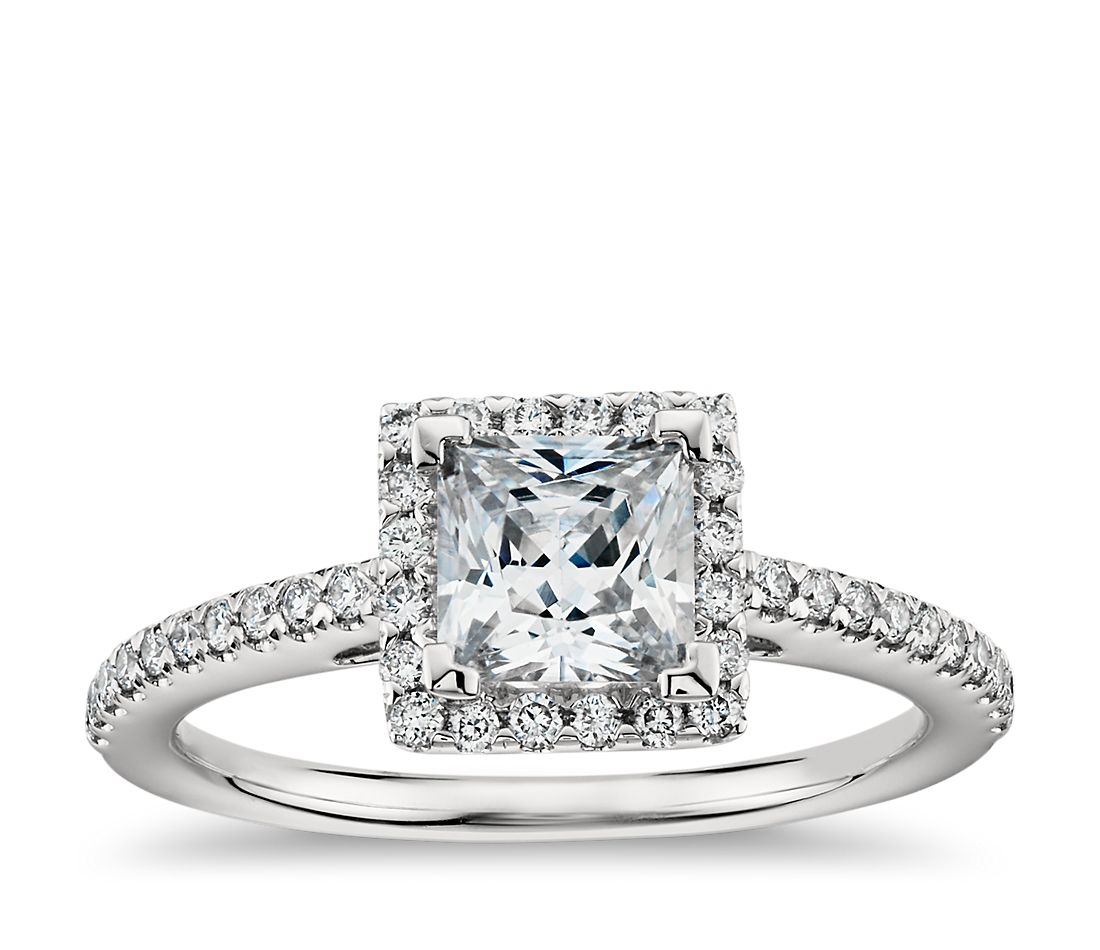 Princess Cut Halo Diamond Engagement Ring in Platinum